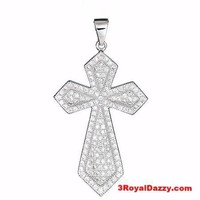 18k layered over Sterling Silver Christian Cross pendent heavy with MicroPave CZ