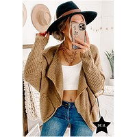 Face The Day Open Front Cardigan (Brown)