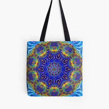 Custom made Tote bag, choice of multiple sizes. Shopping,colorful  abstract oriental peacock blue design. Indian, moroccan, turkish