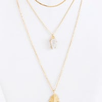 Multi-Layered Gold Leaf Necklace