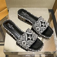 LV Louis Vuitton new woven embroidery printing ladies casual sandals slippers Shoes Black