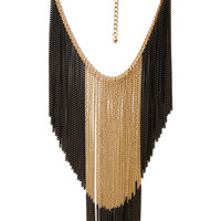 FOREVER 21 Two-Tone Hanging Chain Necklace Gold/Black One