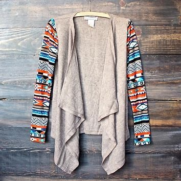 Final Sale - Lightweight Open Front Cascading Cardigan with Aztec Print Sleeves in Taupe