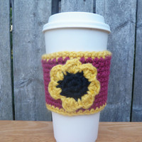 Fall flower coffee cup cozy, handmade cup cozy, drink cozy