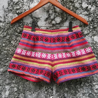 Tribal Shorts Boho Ikat Print Aztec Stripes Hippies Clothing Ethnic Bohemian Woven Handwoven Cute Unique Women Clothes Beach Summer in Red