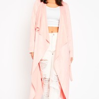Liberty Baby Pink Suede Waterfall Coat - Coats & Jackets - PrettylittleThing | PrettyLittleThing.com