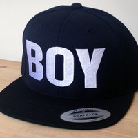 BOY Snapback Hat with Custom Embroidered Logo.  Made to order quality snap back hats and designs