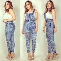 High Waist Blue Acid Wash Distressed Stretch Denim Bib Overalls All Sizes!
