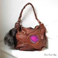 Brown Tribal leather raw asymmetrical pocket with agate stone rusted distressed hobo bohemian fringe  hobo native gypsy bag purse fox tail