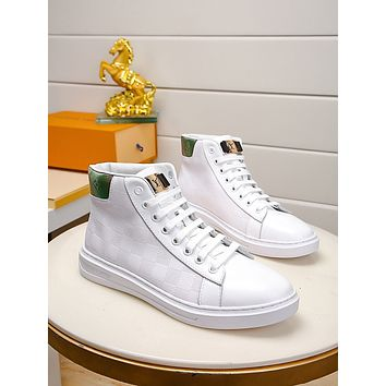 lv louis vuitton trending womens men leather side zip lace up ankle boots shoes high boots 122
