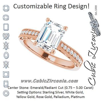 Cubic Zirconia Engagement Ring- The Lina (Customizable Radiant Cut Design with Round Band Accents and Three-sided Filigree Engraving)