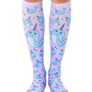 Narwhal Knee High Socks