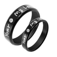 """Stainless Steel Cz Gem """"You're My Love"""" Engraved Couple Rings Set for Engagement, Promise, Eternity R002 (His Size 7,8,9,10; Her Size 5,6,7,8). Please Email Sizes"""