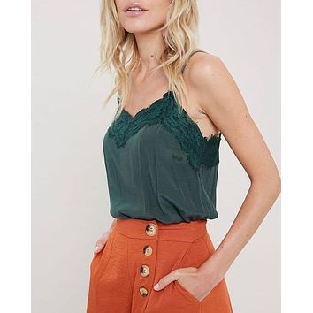 Final Sale - Spaghetti Strap Lace Detailed Camisole in Green