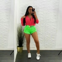 Women High Waist Neon Denim Vintage Mini Shorts