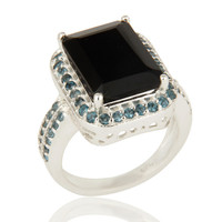 925 Sterling Silver Black Onyx Solitaire Halo Engagement Ring With Blue Topaz