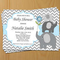 Blue Baby Shower Invitation Elephant Baby Shower Invitation Boy Baby  Shower Invitation Baby Shower Invite (49d2) - Free Thank You Card