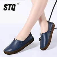 STQ 2017 Autumn women flats ladies slip-on flat loafers shoes ladies handmade ballet flats boat shoes leather oxfords shoes 027