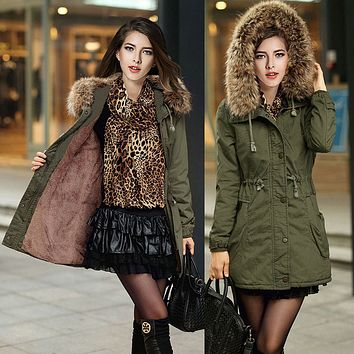 green coat fur collar hooded thick padded female
