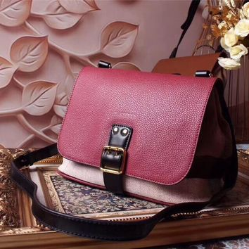 BURBERRY WOMEN'S 2018 NEW STYLE CANVAS AND LEATHER INCLINED SHOULDER BAG