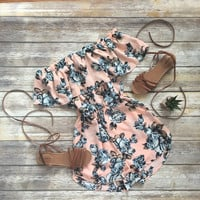Off the Shoulder Floral Romp in Blush