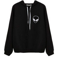 Aliens Embroidery Hoodie Sweater B0014090