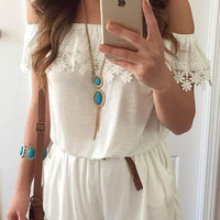 White Off Shoulder Lace Romper