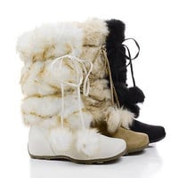 Tara By Blossom, Mukluk Wrap Around Mid Calf Faux Fur Boots