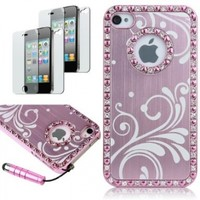 Deluxe Baby Pink Chrome Bling Crystal Rhinestone Hard Case Skin Cover for Apple iPhone 4 4S 4G with 2pcs Screen Protector and Pink Stylus
