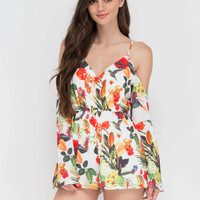 Hot Tropical Trip Off-Shoulder Romper