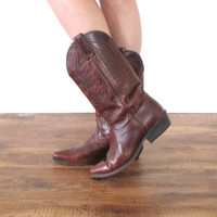 Vintage LEATHER Eagle Embroidered Durango Brown Mahogany Cowboy Western Boots // Biker Hippie Gypsy Boho // Women's US 7