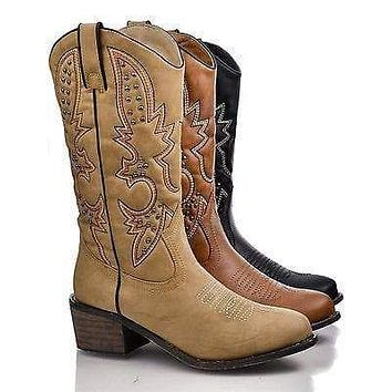 Rancher by Dollhouse, Western Pointed Toe Embroidered Studded Cowboy Mid Calf Riding Boot