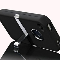 Leegoal Deluxe Case Stand Cover w/Chrome for Apple iPhone 4/4S - Black