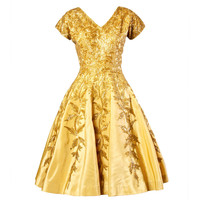 Vintage 1950s 50s Gold Yellow Hand-Beaded Couture Silk Cocktail Dress