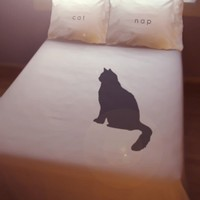 Black Cat DUVET COVER and 2 PILLOWCASES Cat Nap by custombedding