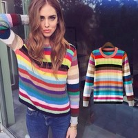 Fall Winter new runway sweater women fashion rainbow pullover female gradient cashmere blends knitting Pull Femme