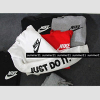 """NIKE"" ""Just do it"" Sleeve Women Men Fashion Hooded Top Pullover Sweater Sweatshirt (4-color)"