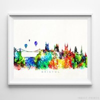 Bristol England Watercolor Skyline Wall Art Home Decor Poster UNFRAMED by Inkist Prints
