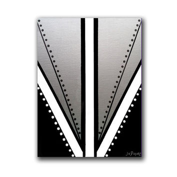 Original abstract painting on a canvas panel. Geometric with black, white, and silver.