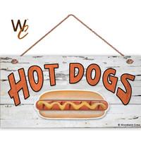 """HOT DOGS Sign, Weathered Wood, Weatherproof, 5"""" x 10"""" Sign, Retro Summer Party Sign, Gift For Dad, Food Sign, Pot Luck Sign, Made To Order"""