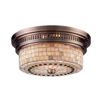 ELK Chadwick 2-Light Flush Mount In Antique Copper And Cappa Shell - 66441-2