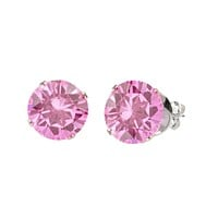 925 Sterling Silver Round Pink Cubic Zirconia CZ Stud Earrings