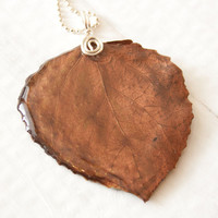 Brown Aspen Leaf Pendant, Bridesmaid Jewelry, Nature Jewelry
