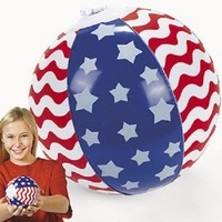 Lot of 12 Inflatable Patriotic USA Red/White/Blue Mini Beach Ball Party Favors