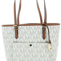 Michael Kors Jet Set Item Large Snap Pocket Tote in Vanilla PVC