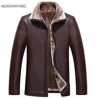 High Quality Leather Jacket Men Faux Fur Winter Faux Leather Coat For Male Casual Faux Leather Coat Overcoat