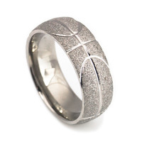 Basketball titanium wedding bands for men-8mm