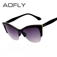 AOFLY Fashion Cat Eye Sunglasses Women Brand Designer vintage sun glasses Women Fashion Eyeglasses high quality eyewear oculos