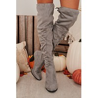 IMPERFECT Catwalk Strutting Thigh High Faux Suede Boots (Gray)