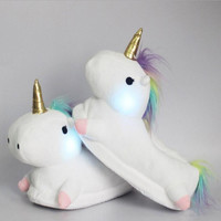 RASS PLE Women's Unicorn Light Up Slippers Fluffy Floor Slippers For House Bedroom- One Size Plush Footwarmer Fit23cm-26.5cm